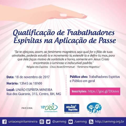 Qualificação de trabalhadores espíritas na aplicação de passe - UEM