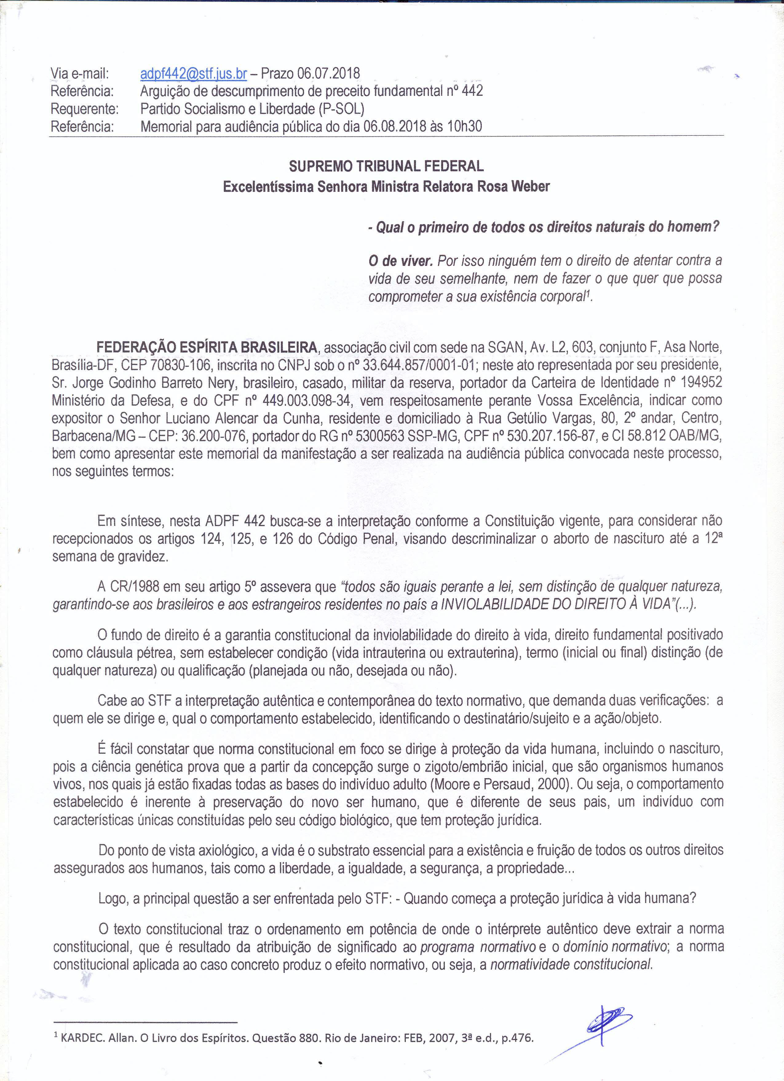 Memorial ADPF 442 - Audiência Pública - Federação Espírita Brasileira-1
